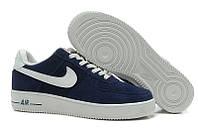 Кроссовки мужские Nike Air Force Low, кроссовки найк аир форс низкие, кроссовки синие, обувь оригинальная