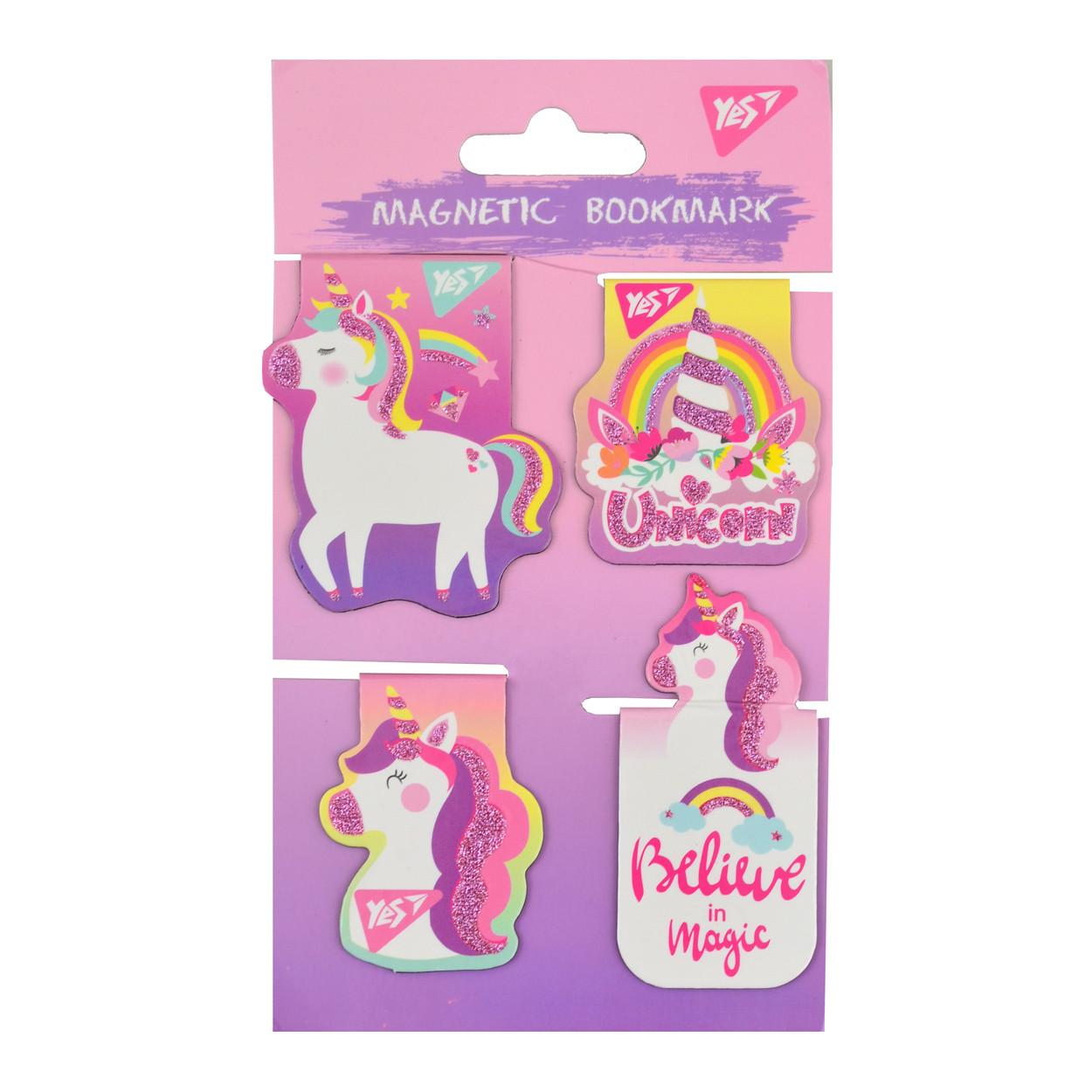 """Закладки магнитные YES """"Unicorn"""", высечка и глиттер, 4шт"""