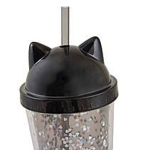 """Тамблер YES с блестками """"Black Cat"""", 450мл, с трубочкой                                   , фото 2"""
