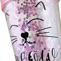 """Тамблер YES с блестками """"Pink Cat"""", 450мл, с трубочкой                                    , фото 2"""