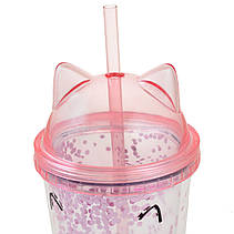 """Тамблер YES с блестками """"Pink Cat"""", 450мл, с трубочкой                                    , фото 3"""
