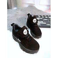 Кроссовки Buffalo London женские, черные, Буффало Лондон, натуральная замша, подошва - пена, код FN-24457.