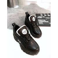 Кроссовки Buffalo London женские, черные, Буффало Лондон, натуральная кожа, подошва - пена, код FN-24456.