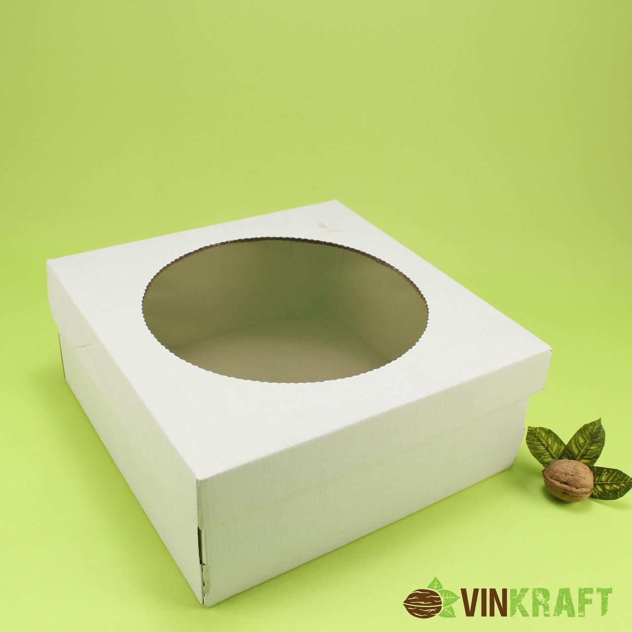 Коробка 250*250*110  для тортів і пирогів з вікном, гофрокартон
