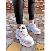 Кроссовки Buffalo London женские, белые, материал - кожа, подошва - пена, код FN-24522.