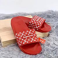 Взуття Supreme Louis Vuitton Шльопки Louis Vuitton Supreme Red 40