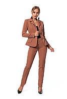 Деловой женский костюм из жакета на подкладке и брюк, цвет коричневый