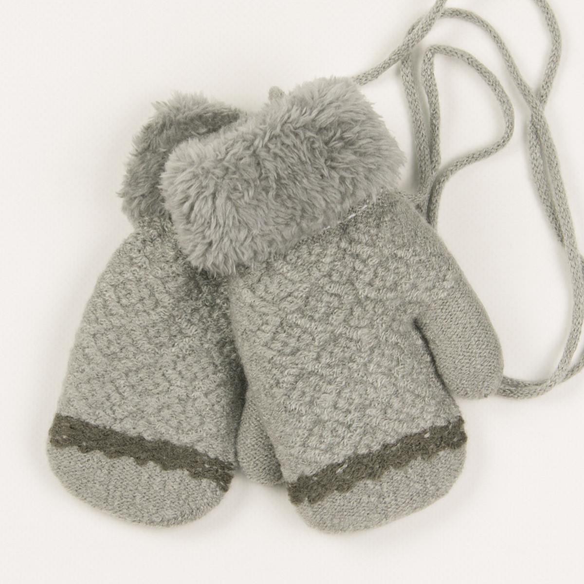 Детские варежки с меховой подкладкой для мальчиков на 2-3 года - 19-7-65 - Серый