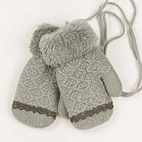 Детские варежки с меховой подкладкой для мальчиков на 2-3 года - 19-7-65 - Серый, фото 1