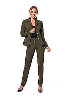 Деловой женский костюм из жакета на подкладке и брюк, цвет хакки