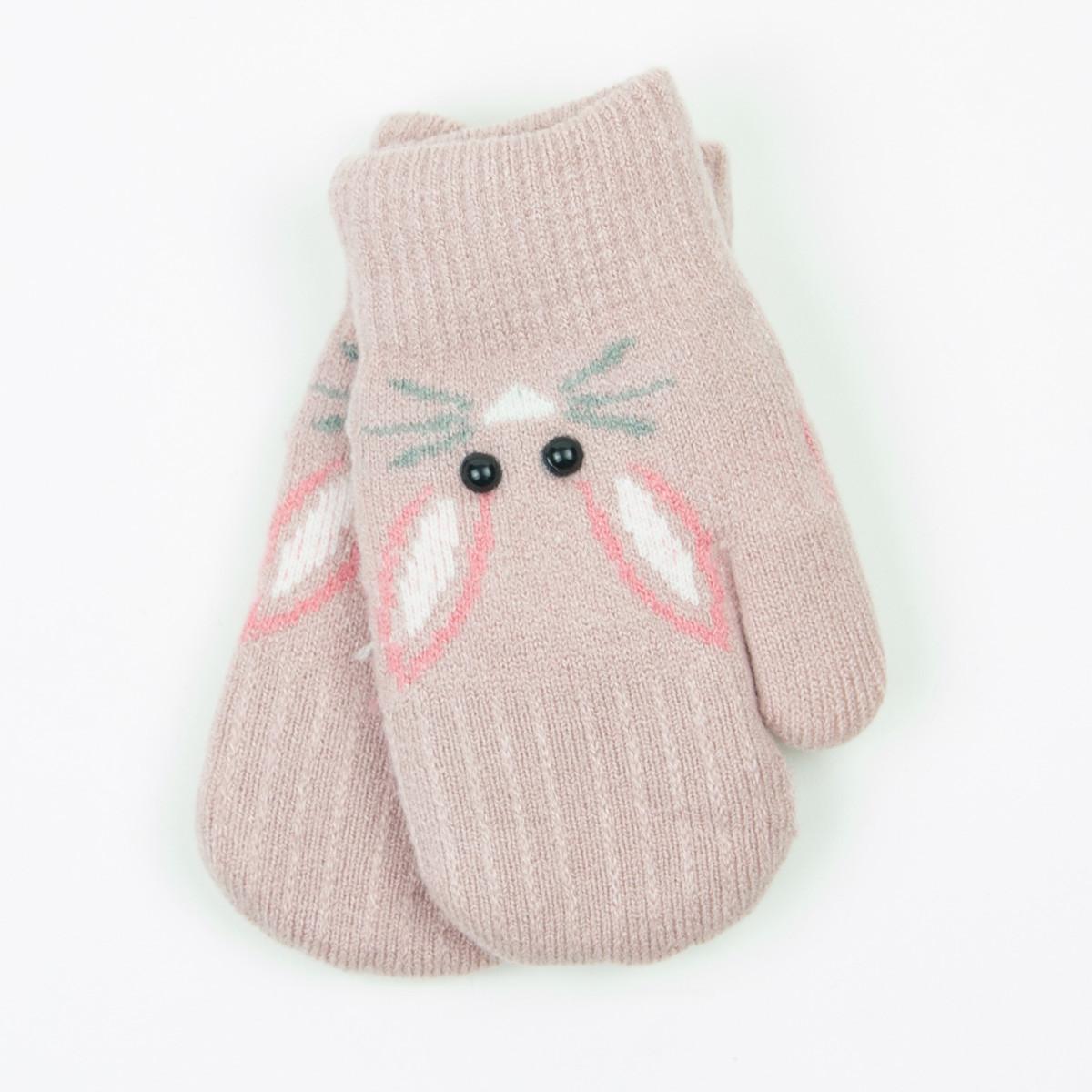 Детские варежки с меховой подкладкой на 4-6 лет - 19-7-66 - Темно-розовый