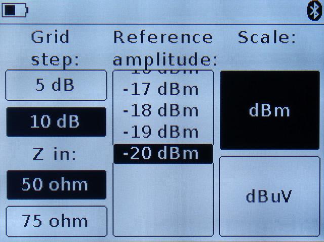 установка основных параметров амплитуды анализируемого сигнала ARINST SSA-TG R2