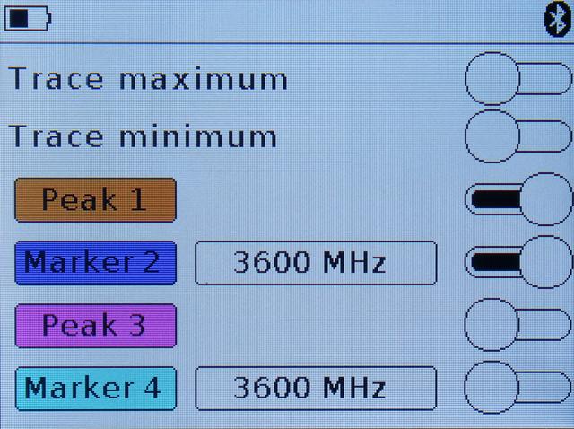ARINST SSA-TG R2 меню установки маркеров и пиковых значений сигнала
