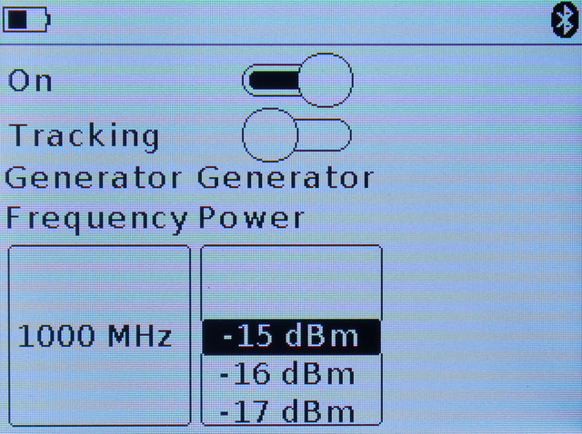 установка частоты и мощности сигнала встроенного генератора ARINST SSA-TG R2