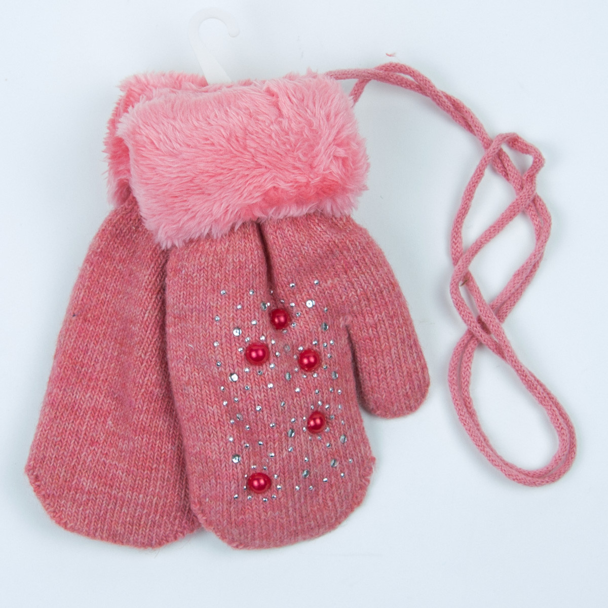 Варежки на девочек с меховой подкладкой на 5-7 лет - 19-7-67 - Коралловый