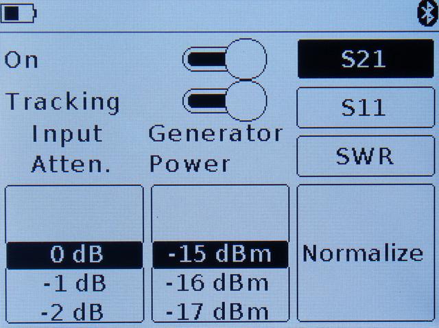 режим настройки параметров для снятия АЧХ тестируемого оборудования ARINST SSA-TG R2