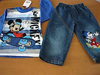 Детский  джинсовый комплект Мики Маус для мальчика 1  год  Турция