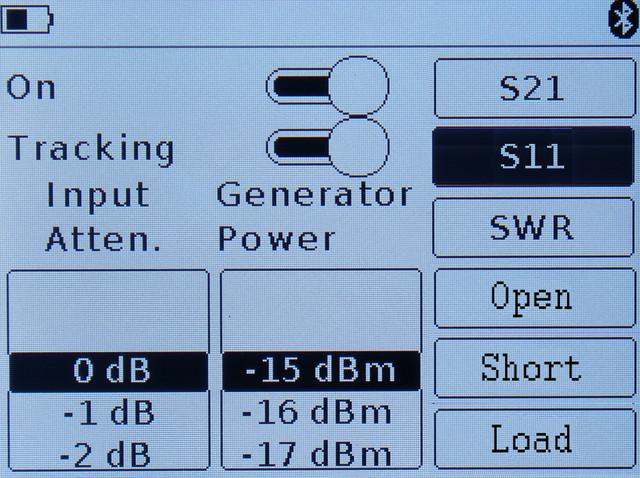 режим настройки параметров измерения коэффициента отражения ARINST SSA-TG R2