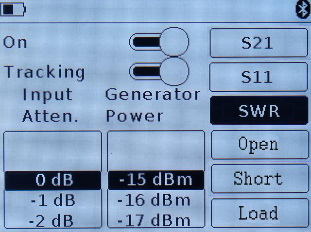 режим настройки параметров измерения КСВ ARINST SSA-TG R2