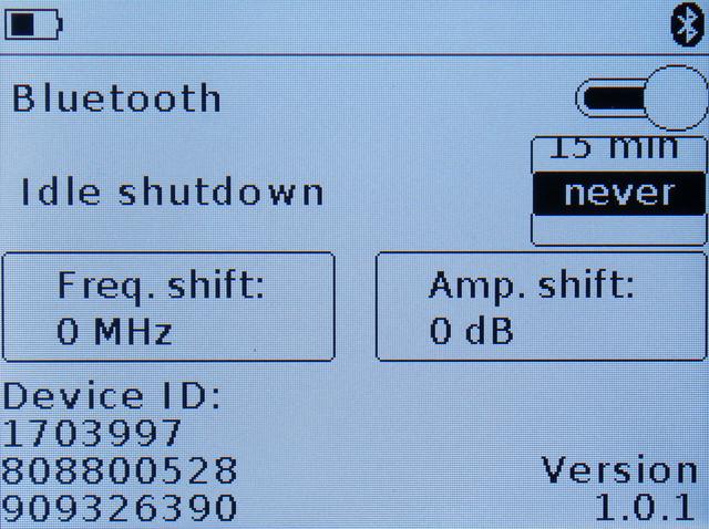 меню включения Bluetooth модуля и сдвига шкал входного сигнала ARINST SSA-TG R2