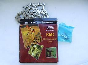 """КМС велосипедна ланцюг Z51 (Z7), розмір 1/2""""х3/32"""" ,116 ланок, хромована з замком"""