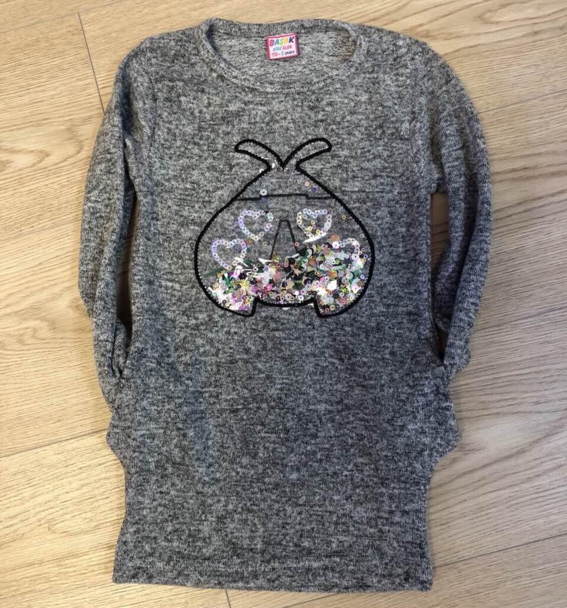 Подростковое платье-туника для девочки с паетками р.9-12 лет