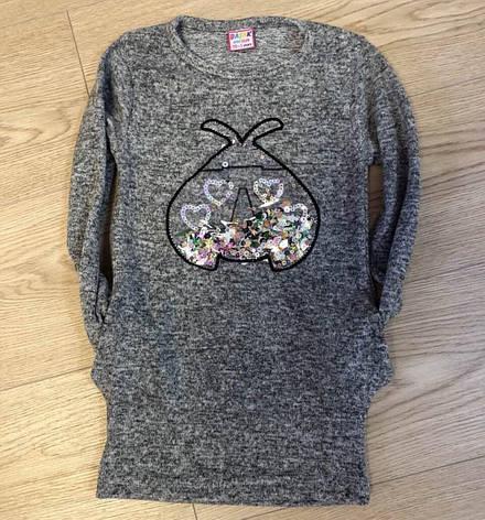 Подростковое платье-туника для девочки с паетками р.9-12 лет, фото 2