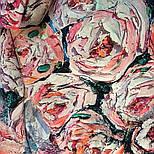Платок шелковый 10099-1, павлопосадский платок (крепдешин) шелковый с подрубкой, фото 8