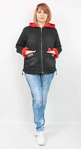 Турецкая женская короткая джинсовая куртка с капюшоном, размеры 50-64