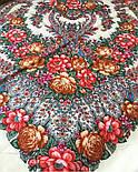 Ладога 1727-0, павлопосадский платок шерстяной  с шелковой бахромой, фото 4
