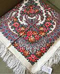 Ладога 1727-0, павлопосадский платок шерстяной  с шелковой бахромой, фото 5
