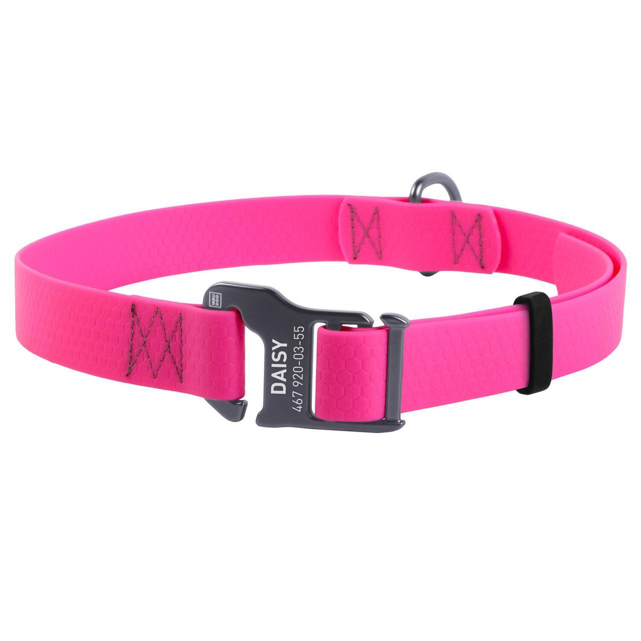 Нашийник Waudog 25-50 см 20 мм з водовідштовхувального матеріалу рожевий (Ваудог) для собак