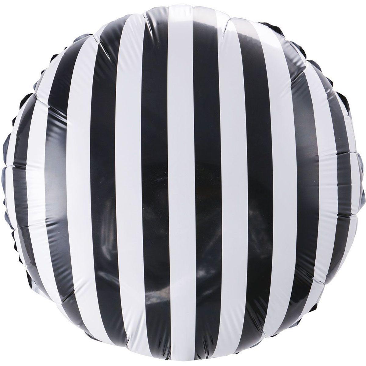 "Фольгована кулька в полоску чорно біле коло 18"" Китай"