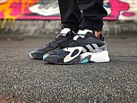 Мужские кроссовки Adidas Streetball (в стиле Адидас) черные, натуральная кожа, замш