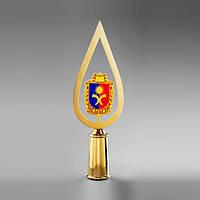 Навершие «Капля с гербом Хмельницкой области» Au, эмаль