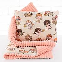 Плед и подушка с ангелочками и звёздами пудрового цвета