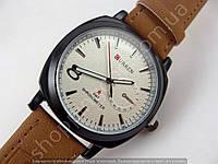 Часы Curren M3177 Business Sport Style мужские черные с белым циферблатом, коричневый ремешок
