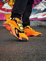Мужские кроссовки Adidas Streetball (в стиле Адидас) оранжевый, натуральная кожа, замш