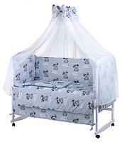 Красивый серый балдахин для детской кроватки. Шифон