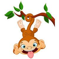 Виниловая наклейка Детская на стену Веселая обезьянка