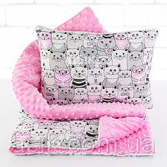 Плед и подушка с котами розового цвета