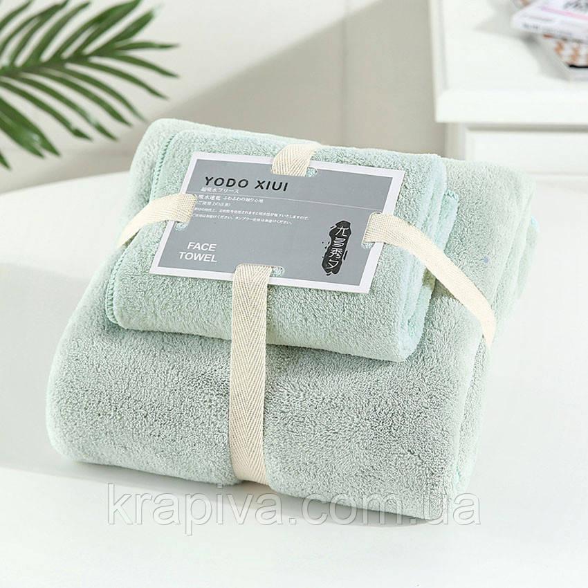Полотенце рушник набор, 140*70 и 0.75*0.35, баня и лицо мятный