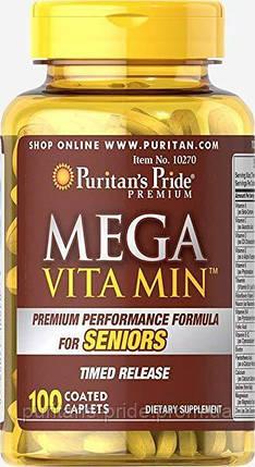 Витамино-минеральные комплексы, Puritan's Pride Mega Vita Min Multivitamin for Senior Timed Release 100 капс, фото 2