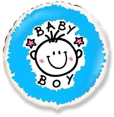 """Фольгированный шар круг """"Baby boy""""  18"""" Flexmetal"""