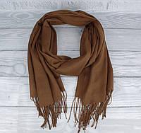 Демисезонный тонкий кашемировый шарф, палантин Ozsoy 7180-8 коричневый, Турция, фото 1