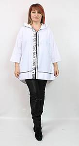 Турецкая женская белая асимметричная ветровка с капюшоном, размеры 50-60