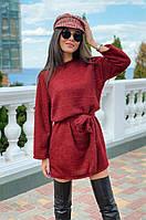 Мягкое пушистое вязанное платье туника с широкими рукавами и поясом в комплекте, норма и батал большие размеры