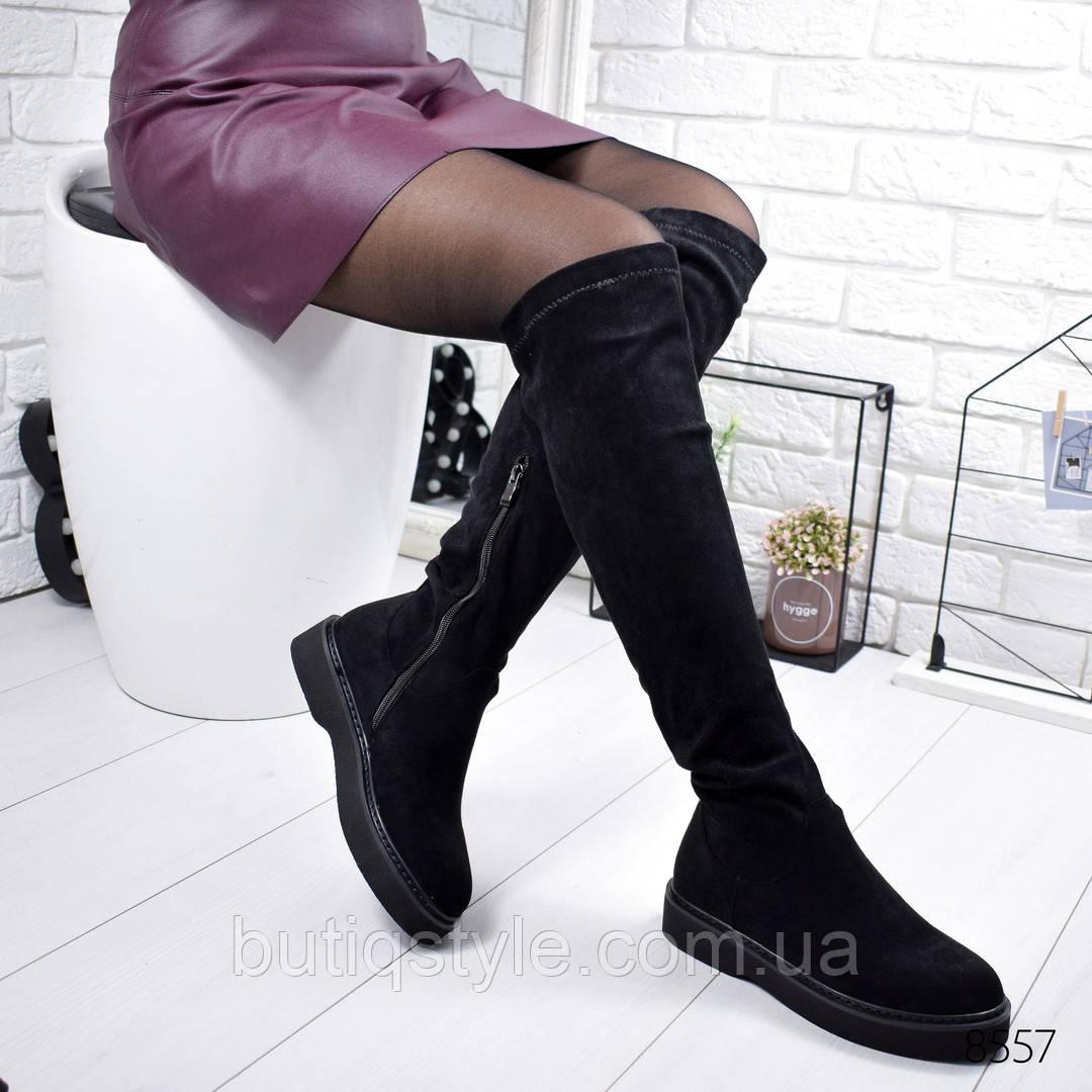 40 размер Черные женские ботфорты эко-замш на низком ходу Деми