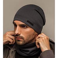"""Комплект шапка и шарф вязаная мужская """"Квин"""" антрацит 906043, фото 1"""