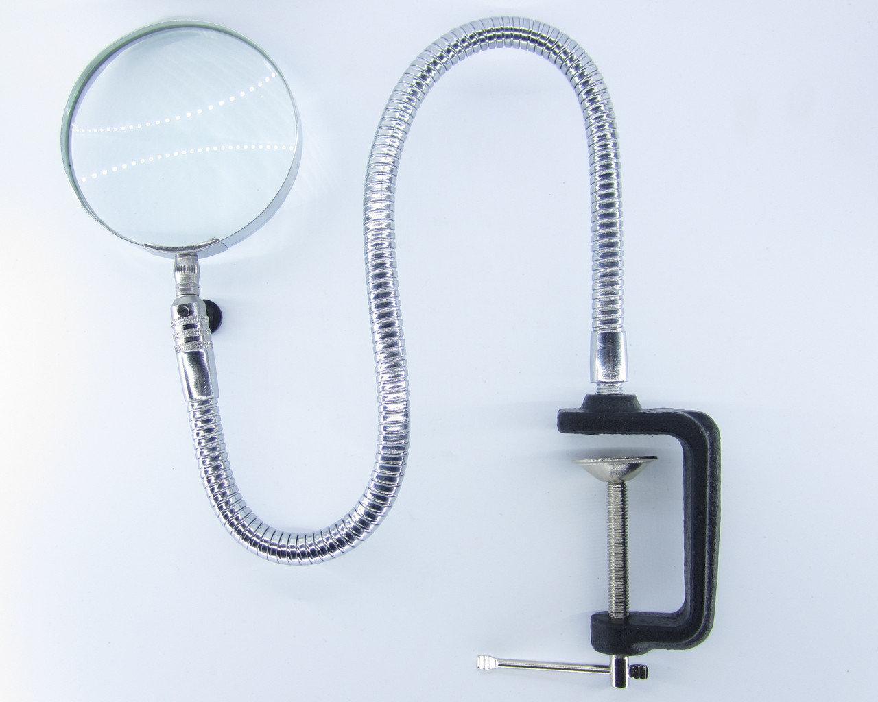Лупа настільна MG15124 гнучка зі струбцин., кругла, 3Х, діам-90мм